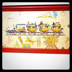 Vintage Red Framed Drink Tray 🍸❤️